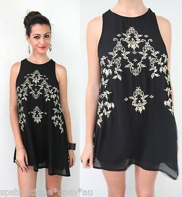 sale FOREVER HOT BLACK GOLD FLORAL SYMMETRICAL EMBROIDERY SHIFT DRESS 6 8 NEW