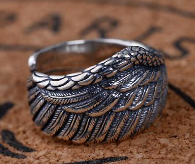 Custom Fina Plata Esterlina 925 con alas de ángel de plumas realista Envoltura Alas Anillo