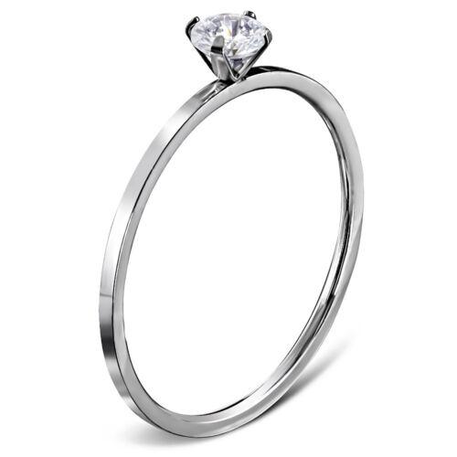Anillo de compromiso circonita piedra señora-ring solitario-ring de acero inoxidable autiga ®