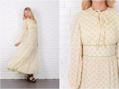 Vintage 70s Yellow Boho Dress Striped Floral Print Prairie Hippie Small Maxi S