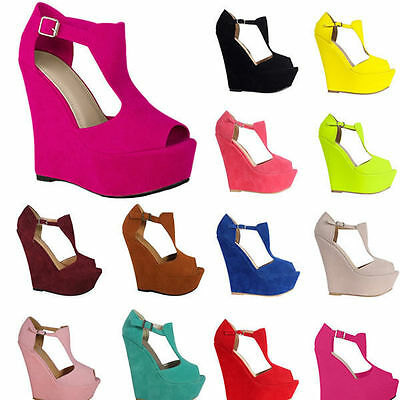 WOMENS LADIES  SEXY PEEP TOE PLATFORM WEDGES HIGH HEELS PARTY SHOES UK SIZE 2-9