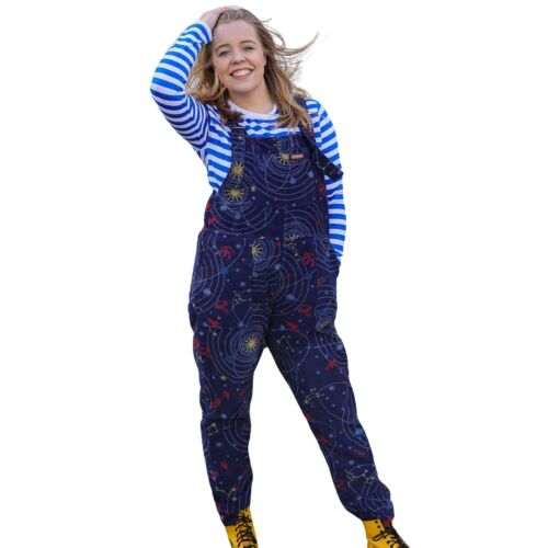 Run and Fly Blue Space Print Corduroy Dungarees Overalls 8 10 12 14 16 18