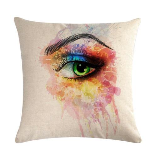 Cotton Linen Makeups Eye Lips Pillow Case Sofa Throw Cushion Cover Home Decor