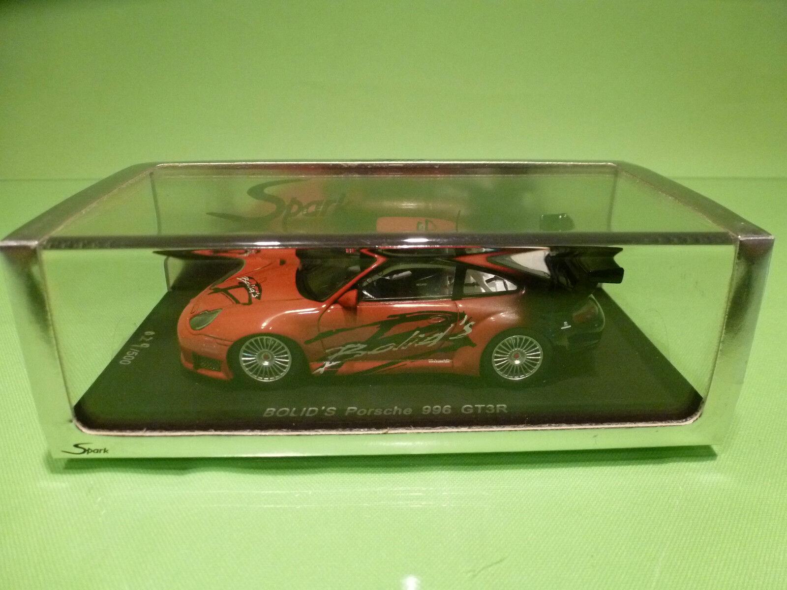 SPARK 1 43  PORSCHE 996 GT3R BOLID'S  029 500  - ORIGINAL BOX - IN MINT CONDITION  font des activités d'escompte