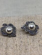 Sterling Silver Marcasite Post Earrings W2-5