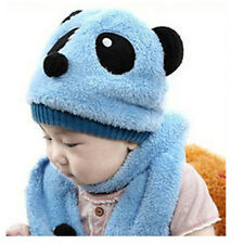 888adf3749d Baby Children Boys Girls Kids Cute Panda Warm Hats Cap Scarf For Spring  Winter