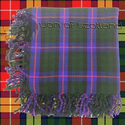 "Men'sHighland Scottish Kilt Fly Plaid Plain Black Tartan Purled Fringe 48/"" x 48/"""