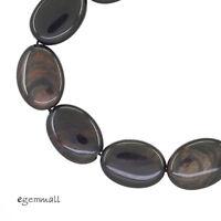 10pc Mahogany Obsidian Flat Oval Beads 13x18mm 89052