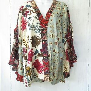 New-Umgee-Top-XL-X-Large-Green-Mixed-Floral-Scallop-Sleeve-Boho-Peasant