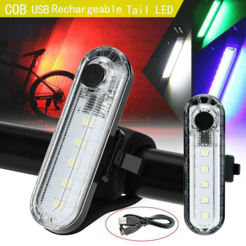 USB Rechargeable Bike Bicycle Cycling 4 Modes 5 LED Front Rear Tail Light Lamp