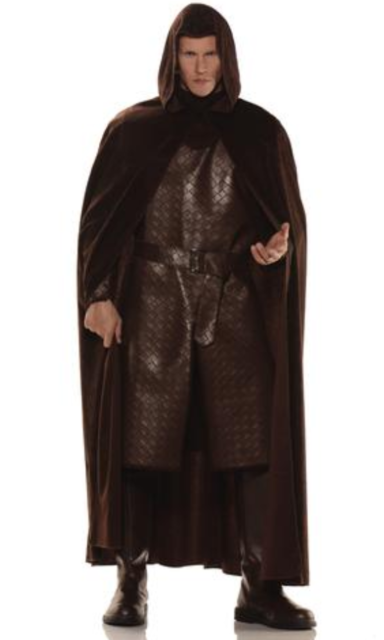 Deluxe Hooded Brown Cloak Cape
