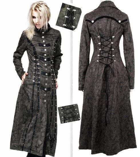 läder Long Coat Gothic Lolita Steampunk årgång Cyber Study Corset Punkrave