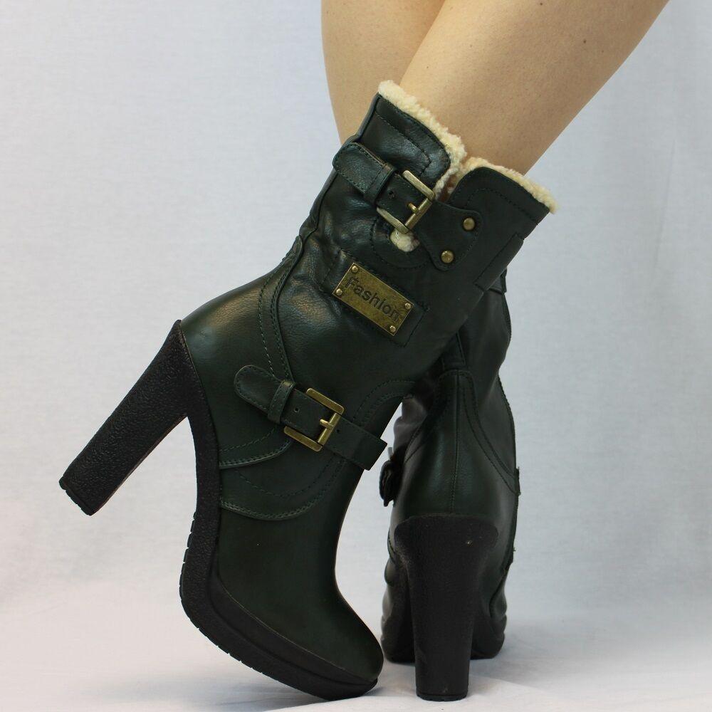 Warm Comfort Ankle Full Faux Fur Zip Block Heel Buckle Platform Boots 3 - 8 945