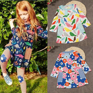Baby Girl Mini Skater Dresses Long Sleeve Toddler Top Kids Clothes