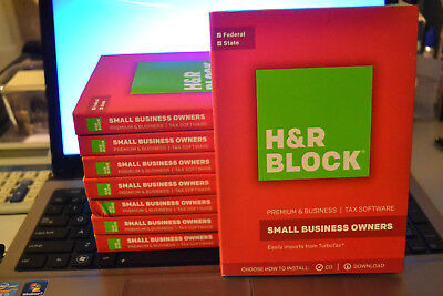 2017 H/&R Block BUSINESS Premium turbo S-corp /& Schedule C Tax Cut NEW Sealed CD
