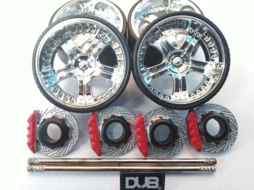 JADA DUB CITY 1//24 SCALE WHEELS /& TIRES FOR DUB CITY SUV HUMMER H2 OR GMC DENALI
