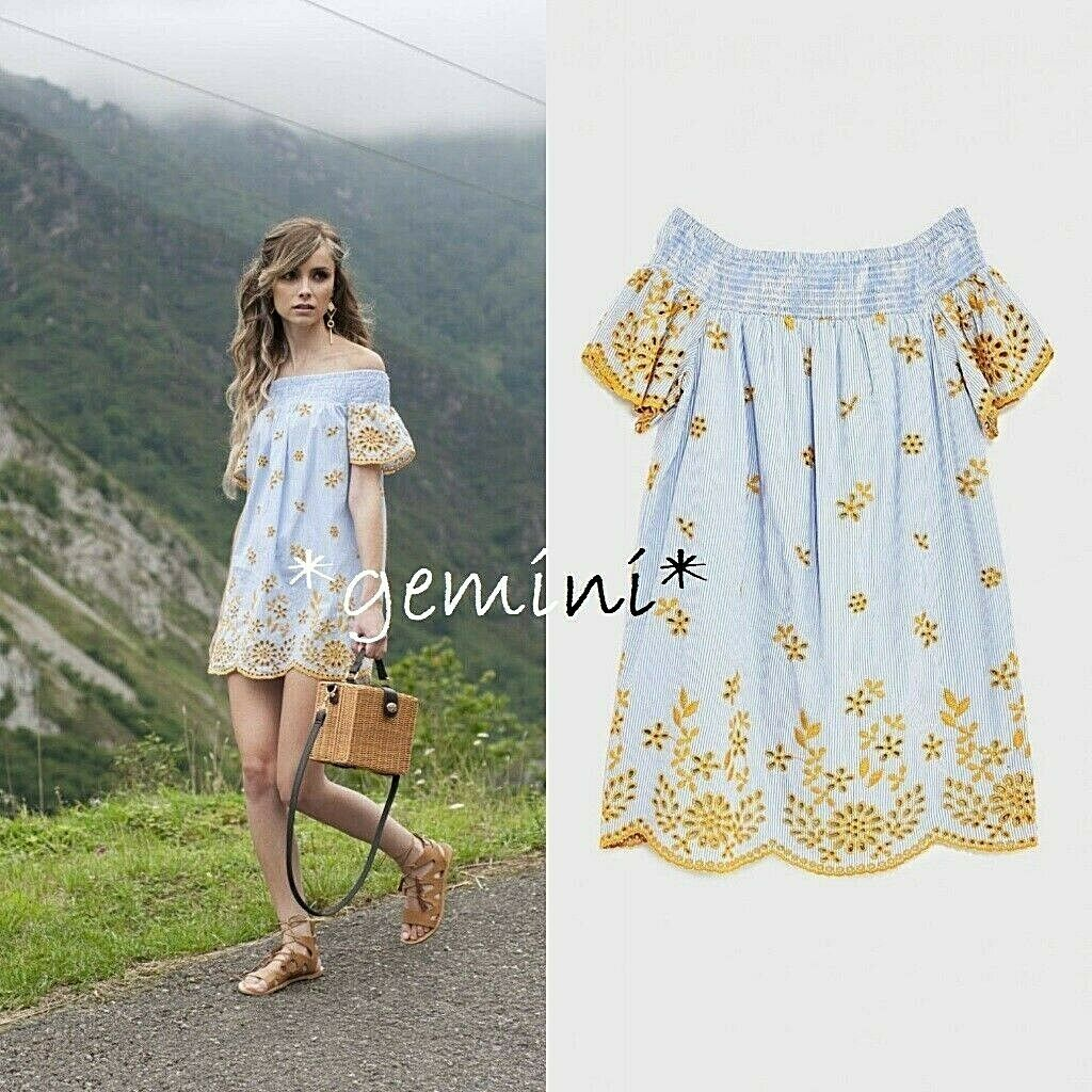 Zara abito miniabito strisce pizzo ricamo Short Lace EMBROIDERED DRESS S