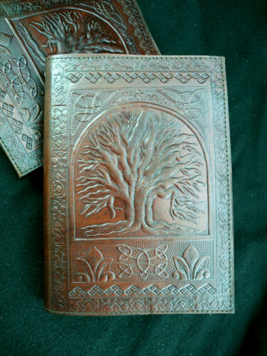 A5 Wicca TREE of LIFE Handmade A5 Refillable Leather Journal Book of Shadows