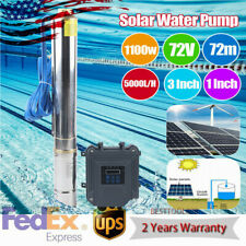 3 Solar Deep Water Well Screw Bore Pump Ssteel Submersible Farm Pond 72v 1100w