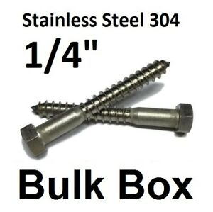 """1//4 x 1/"""" Stainless Steel Lag Bolts Screw Bolts Bulk Wholesale Lot 100"""
