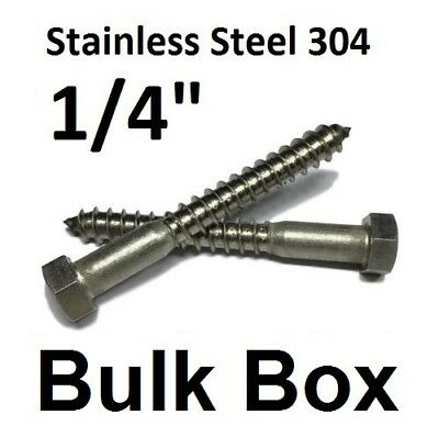 AISI 304 Stainless Steel 18-8 100 pcs Hex Head Lag Screw Bolts 5//16 X 5