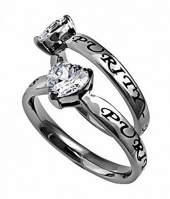 CZ Heart Purity Spirit & Truth Stainless Steel Fashion Ring Sizes 5-9