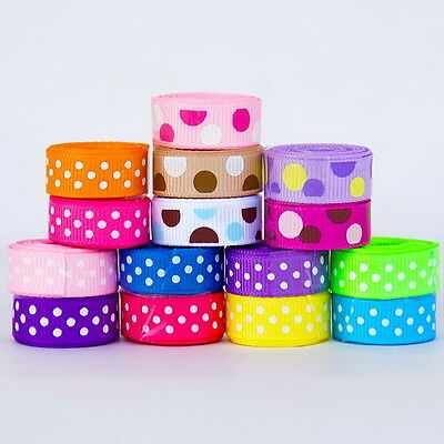 15 yards 3/8'' new 15 style polka dotty bow craft grosgrain ribbon 4 hairbow