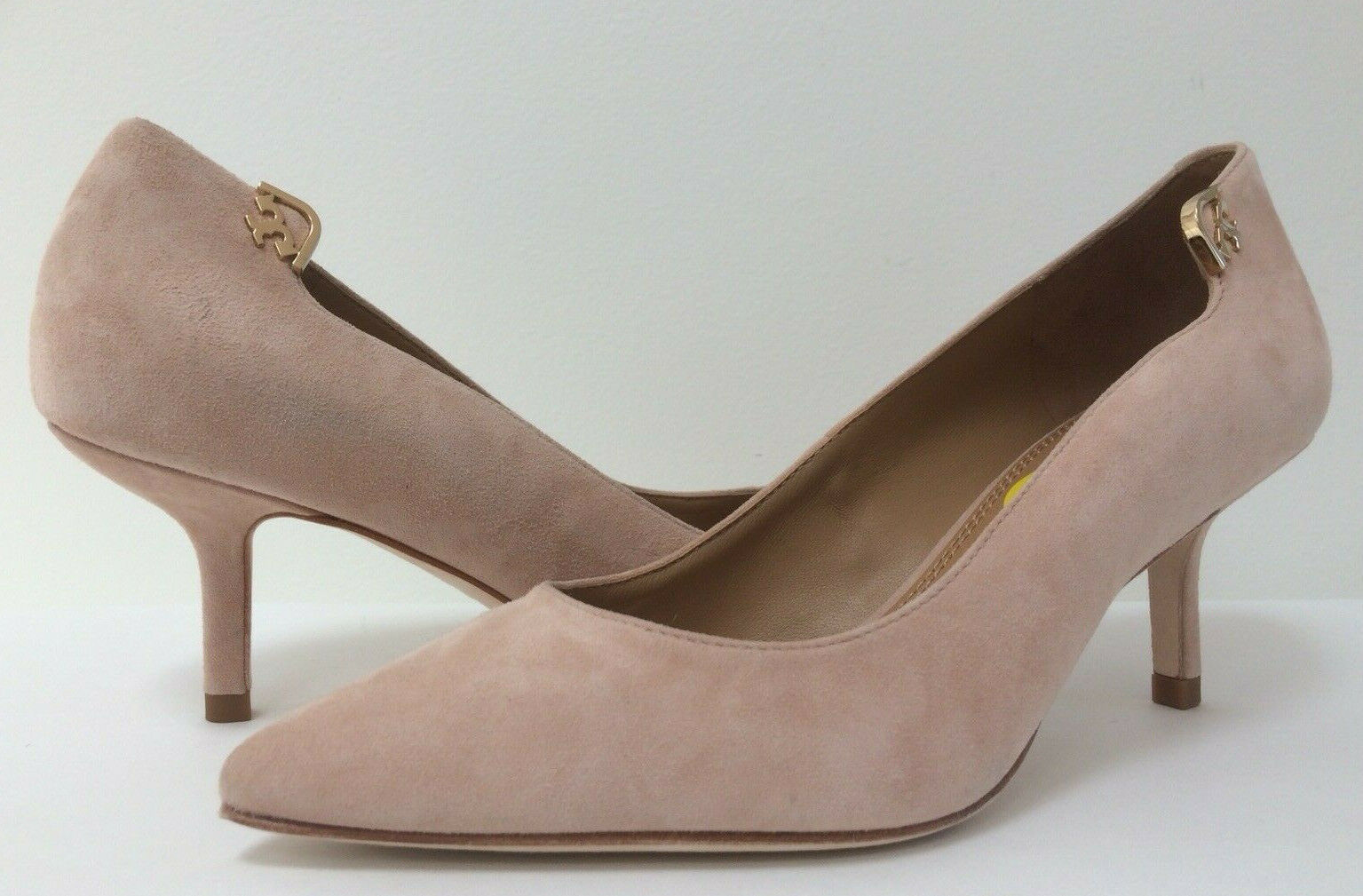 New Tory Burch 5M ELIZABETH Pointed Toe 65mm Pump Royal Suede Perfect bluesh Pink