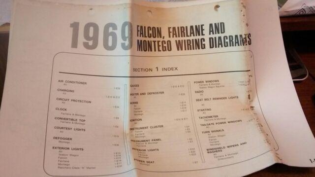 1969 Ford Wiring Diagram Falcon Fairlane Montego Original