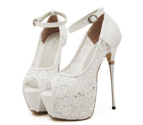 Women Lace Open Toe Platform Party White Shoes Bridal Wedding High Heels Sandals