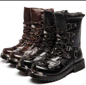 Men Military Combat Metal Lace Force Leather Motorcycle Punk Mid Calf Boots HOT