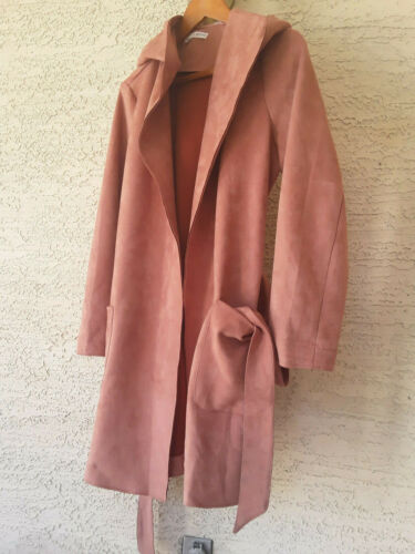 Hyfve women's faux suede trench coat open front be