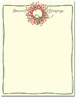 Season's Greetings Wreath Winter Christmas Stationery Letterhead - 25 Or 80pk