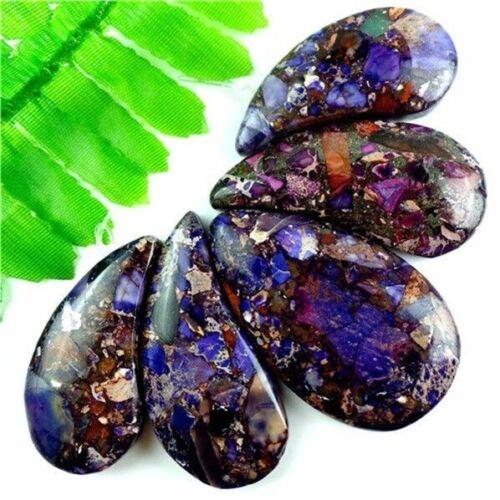 encantador /& Pirita Colgante Perla Set F-RTE5 sea Sediment Jasper púrpura 5 un nuevo