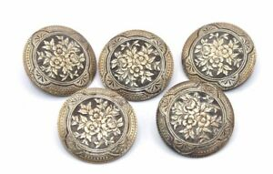 SET-OF-FIVE-Vtg-VICTORIAN-EDWARDIAN-Era-LARGE-Bronze-Ornate-FLORAL-Buttons