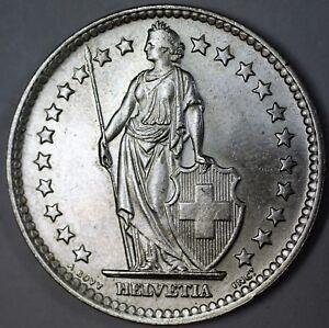 1964-B-Switzerland-2-Francs-Brilliant-Uncirculated-Helvetia-Silver-Coin