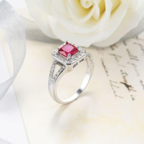Wedding Gift Square Rose Topaz White Zircon Gemstone Silver Ring  Size 6-10