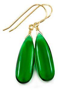 14k Gold Onyx Earrings Emerald Green Long Teardrop Simple Thin Smooth Sterling