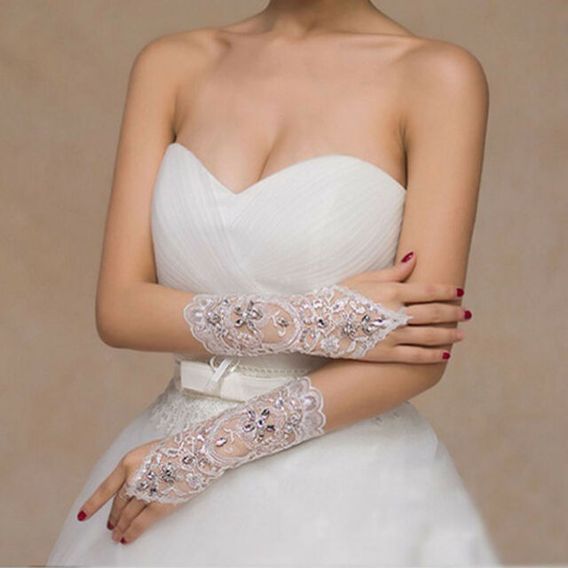 Bridal Gloves Bride Wedding Dress Fingerless Gloves Lace Beads Short Gloves