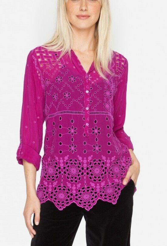 Johnny Was Collared Patchwork Shirt Small