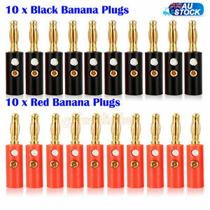 20-Pcs-Black-Red-Connector-4mm-Gold-Plated-Banana-Audio-Speaker-Plugs-Connector