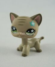 Littlest Pet Shop LPS Gray Stripes Tabby Cat Green Flower Eyes #483 Girl Toys
