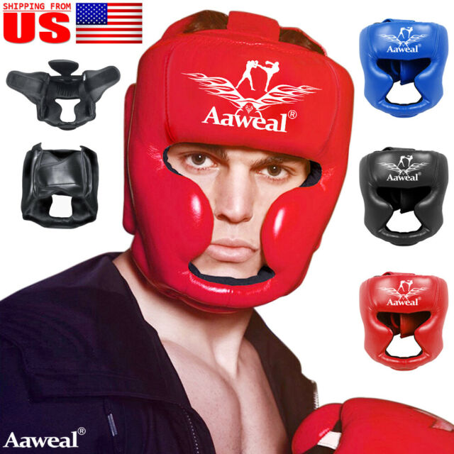 Black Good Headgear Head Guard Training Helmet Kick Boxing Protection Gear R9Q4