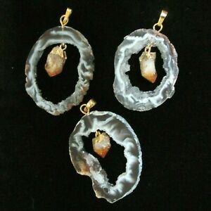 Handcrafted Natural Citrine Point in Agate Geode Slice, Gold Bale Pendant