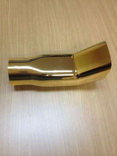 """3/"""" DIAM DTM SQUARE GOLD  PLATED STAINLESS STEEL EXHAUST PIPE TIP MT 5131G"""