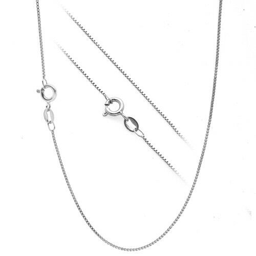 """.925 Sterling Silver .7mm Box Chain Necklace for Pendants All Sizes 14/"""" 30/"""""""