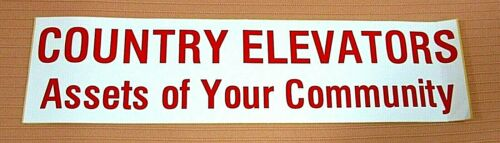 Old COUNTRY ELEVATORS Assets To Your Community Unused Bumper Sticker FREE S//H
