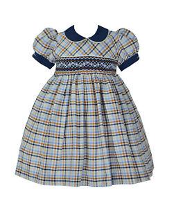 Pretty Originals Girls Smocked Dress /& Headband BD01850 AGE 2.3.4.NAVY CHECK