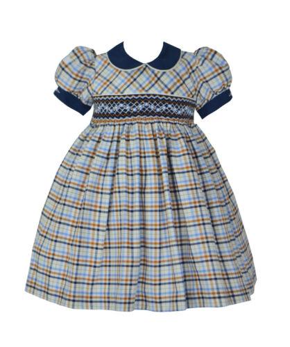 Azul Marino Cuadros Pretty Originals Niñas Smocked Vestido y diadema BD01850 edad 2.3.4