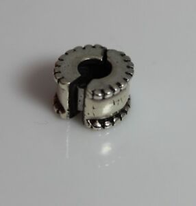 Authentic-Sterling-Silver-Pandora-Clip-on-Spacer-Charm-W-Beaded-Edge-5-12434